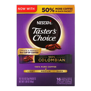 Нескафе, Taster's Choice, Instant Coffee, 100% Colombian, 16 Single Serve Packets, 0.1 oz (3 g) Each отзывы покупателей