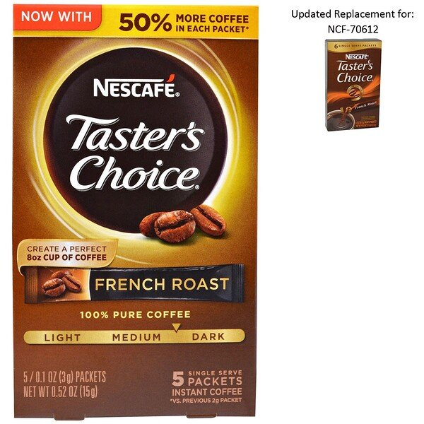Nescafé, Taster's Choice, Instant Coffee, French Roast, 5 Single Serve Packets, 0.1 oz (3 g) Each