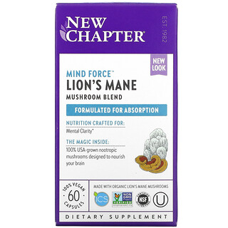 New Chapter, Lion's Mane, 60 Vegan Capsules