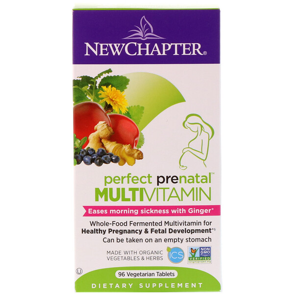 New Chapter, Multivitamínico prenatal perfecto, 96 tabletas vegetarianas
