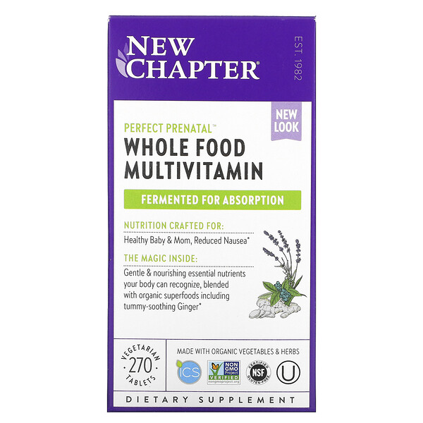 New Chapter, Perfect Prenatal, Whole Food Multivitamin, 270 Vegetarian Tablets
