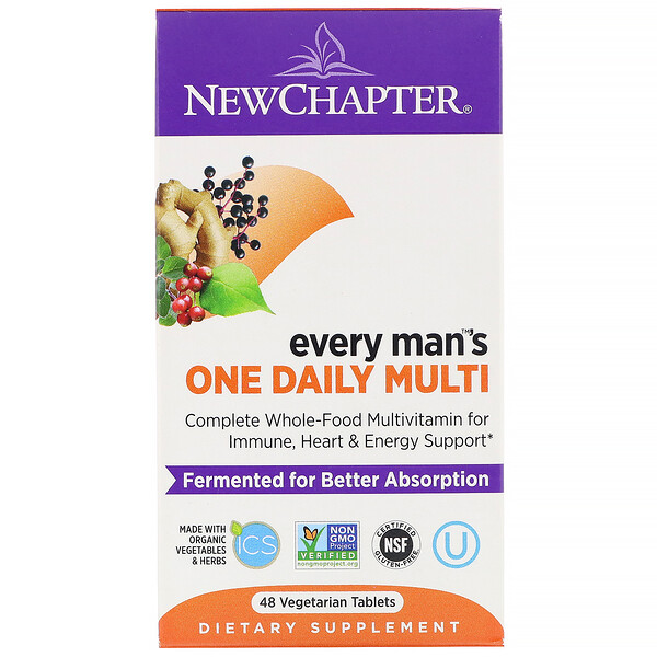 New Chapter, Multivitamina diaria para hombres, 48 comprimidos vegetarianos