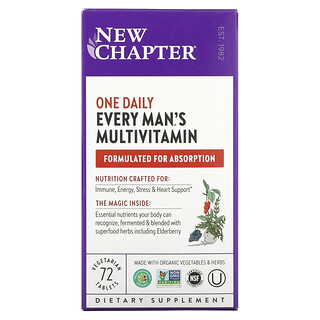 New Chapter, One Daily Every Man's Multivitamin, 72 Vegetarian Tablets