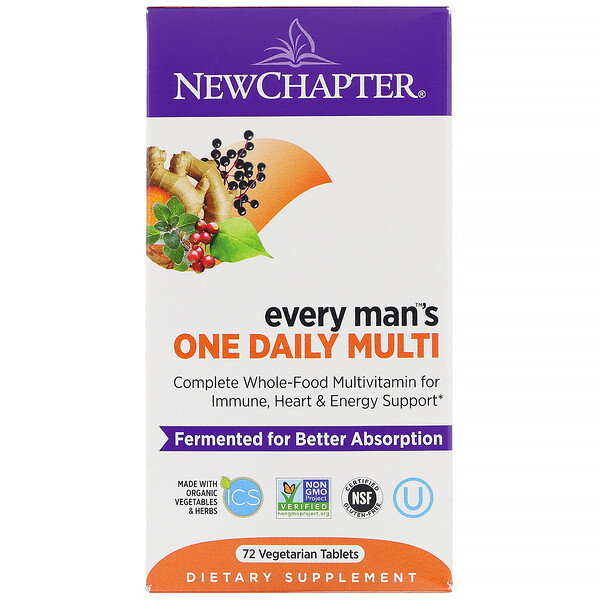 New Chapter, Every Man's One Daily Multi‏، 72 قرص نباتي