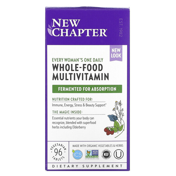 New Chapter, Multivitamina diaria para todas las mujeres, 96 comprimidos vegetarianos