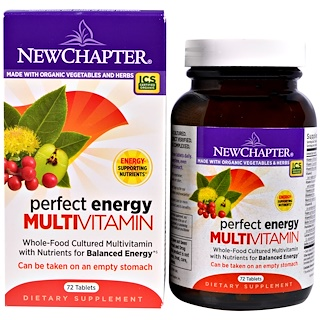 New Chapter, Perfect Energy multi vitaminas, 72 comprimidos