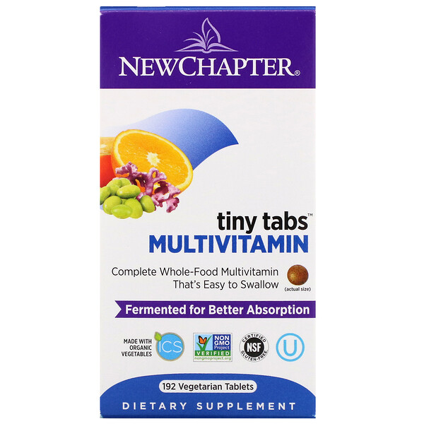 Multivitamin Tiny Tabs, Complete Whole-Food Multivitamin, 192 Vegetarian Tablets