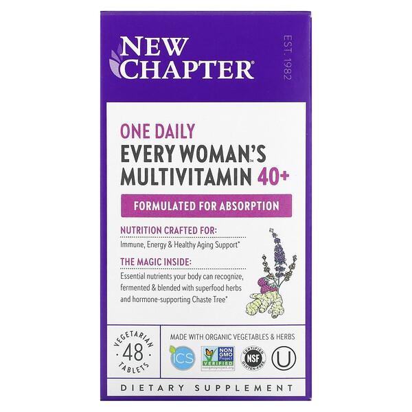40+ Every Woman™ 女性每日一片天然食物素食复合维生素,48 片素食片