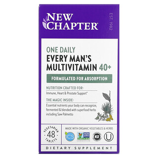 New Chapter, 40+ Every Man's One Daily Multivitamin, 48 Vegetarian Tablets