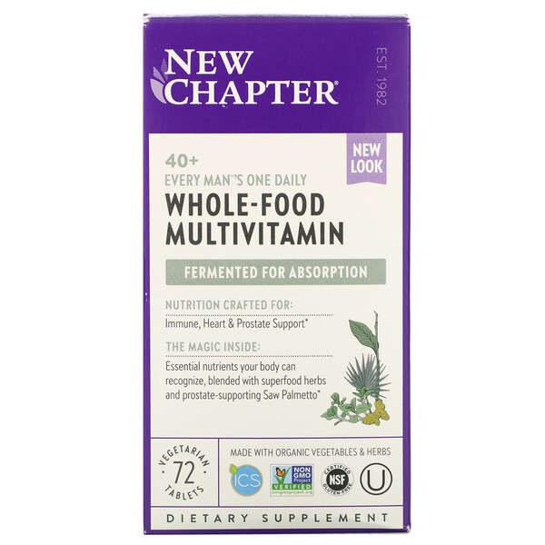 40+ Every Man's One Daily Whole-Food Multivitamin, 72 Vegetarian Tablets