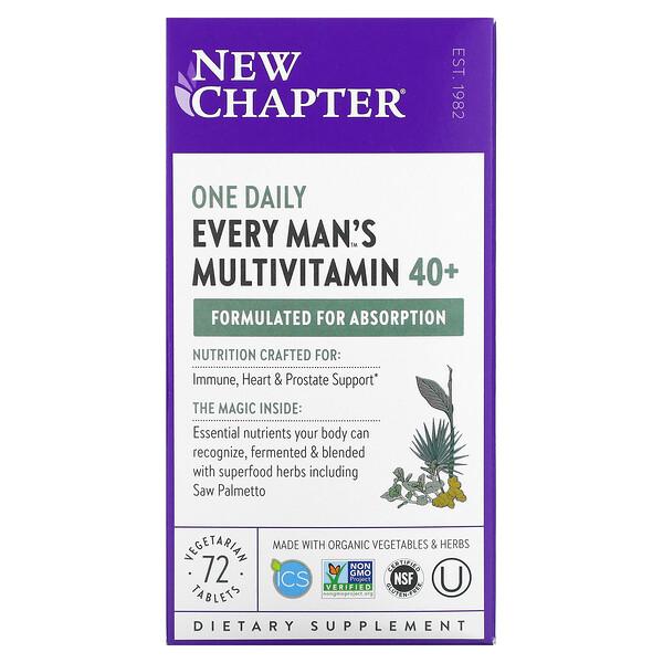 40+ Every Man™ 男性每日一片天然食物素食复合维生素,72 片素食片