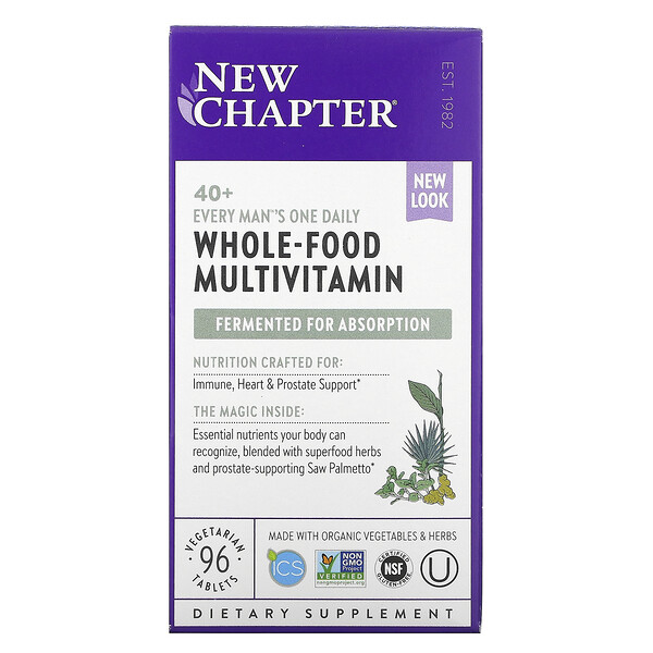 New Chapter, 40+ Every Man's One Daily, Whole-Food Multivitamin, 96 Vegetarian Tablets