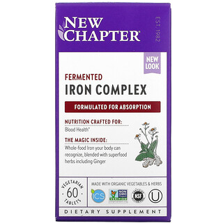 New Chapter, Fermented Iron Complex, 60 Vegetarian Tablets