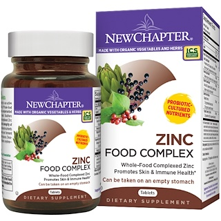 New Chapter, Zinc Food Complex, 60 Tablets