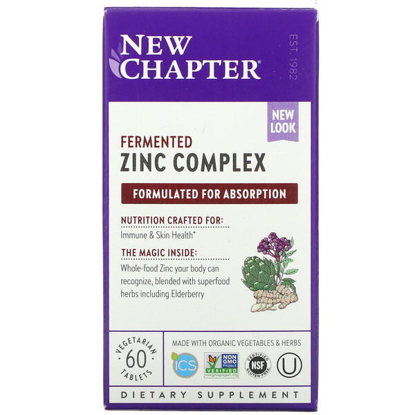 New Chapter, Fermented Zinc Complex, 60 Vegetarian Tablets