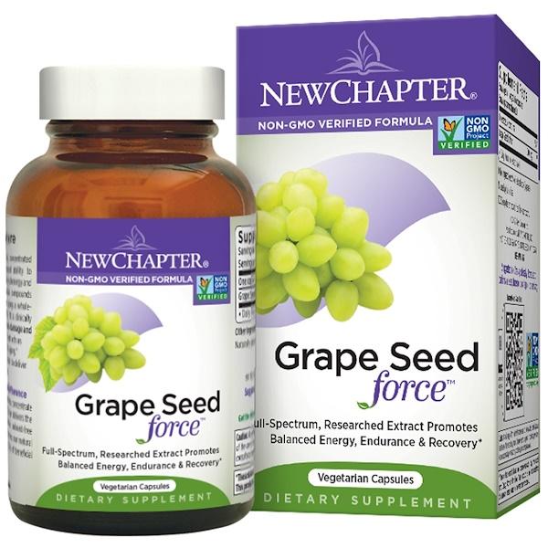 "New Chapter, ""Сила семян винограда"", 30 капсул на растительной основе"
