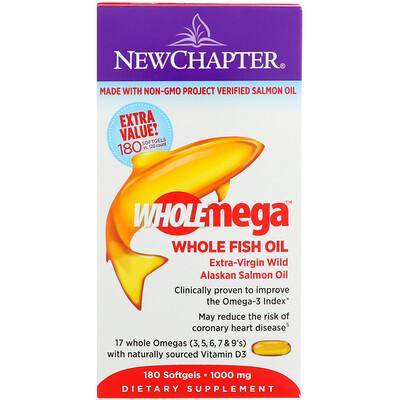 Фото - Wholemega, Extra-Virgin Wild Alaskan Salmon, Whole Fish Oil, 1,000 mg, 180 Softgels fish oil reflux free 1 000 mg 180 enteric coated softgels