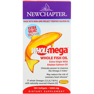 New Chapter, Wholemega, Extra-Virgin Wild Alaskan Salmon, Whole Fish Oil, 1000 mg, 180 Softgels