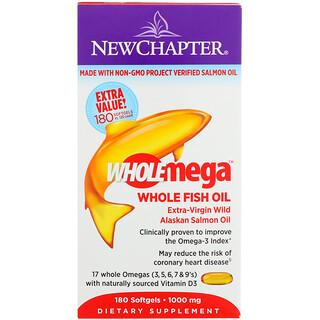 New Chapter, Wholemega, Huile de Poisson de Saumon Sauvage d'Alaska Extra-Vierge , 1000 mg, 180 Cpasules