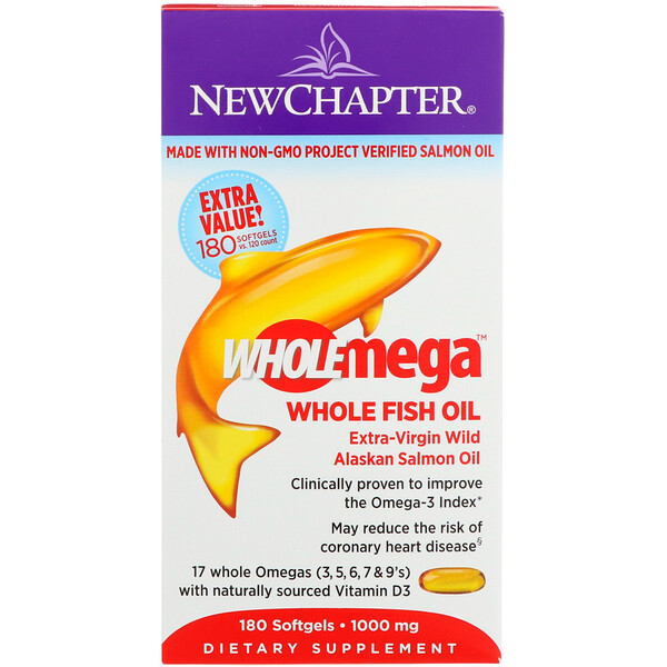 Wholemega, Extra-Virgin Wild Alaskan Salmon, Whole Fish Oil, 1,000 mg, 180 Softgels