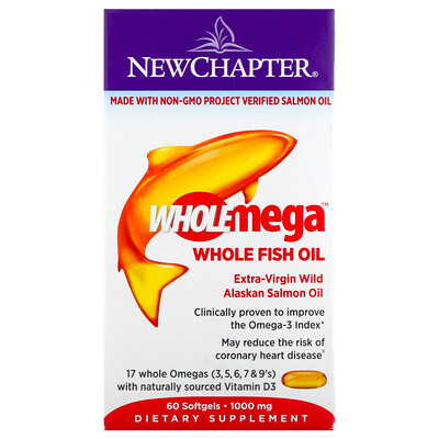 Фото - Wholemega, Extra-Virgin Wild Alaskan Salmon, Whole Fish Oil, 1,000 mg, 60 Softgels fish oil reflux free 1 000 mg 180 enteric coated softgels