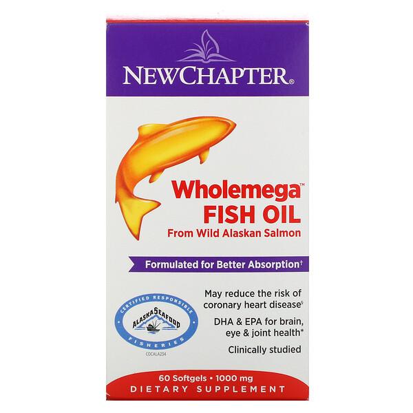 Wholemega Fish Oil, From Wild Alaskan Salmon, 1,000 mg, 60 Softgels