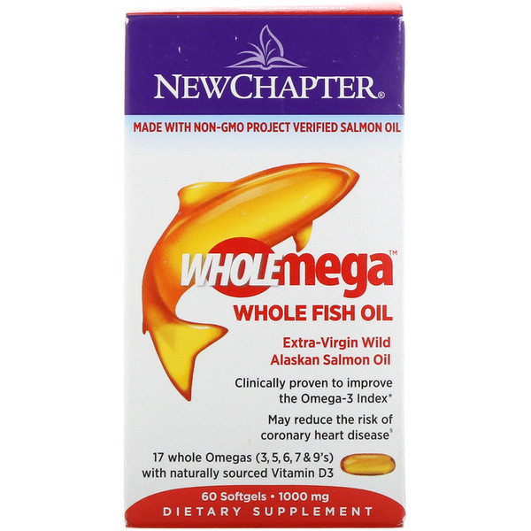 Wholemega, Extra-Virgin Wild Alaskan Salmon, Whole Fish Oil, 1,000 mg, 60 Softgels