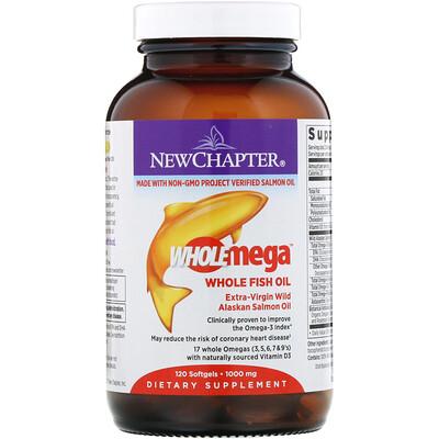 Купить Wholemega, цельный рыбий жир из дикого аляскинского лосося первого отжима, 1000 мг, 120 мягких таблеток