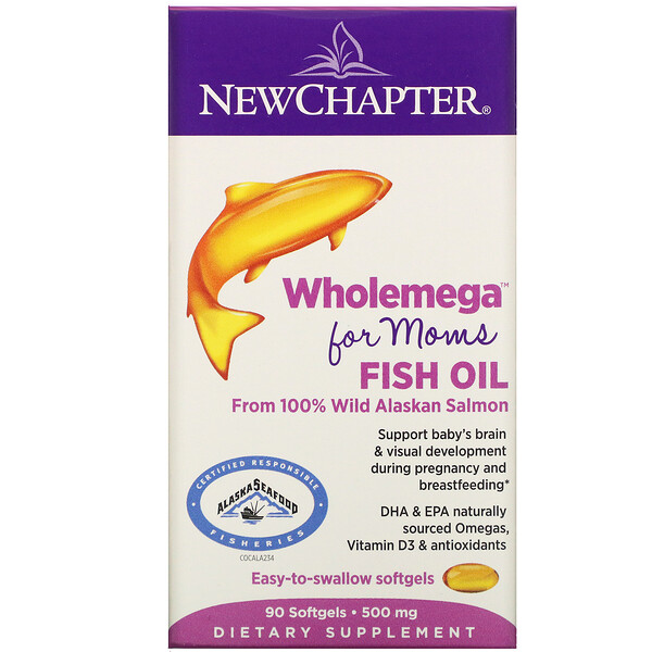 New Chapter, Wholemega for Moms Fish Oil, From Wild Alaskan Salmon, 500 mg, 90 Softgels
