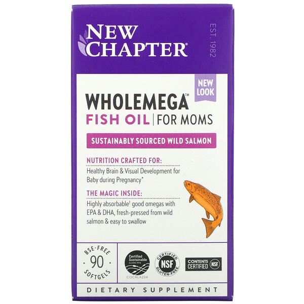 New Chapter, Wholemega Fish Oil for Moms, 90 Softgels
