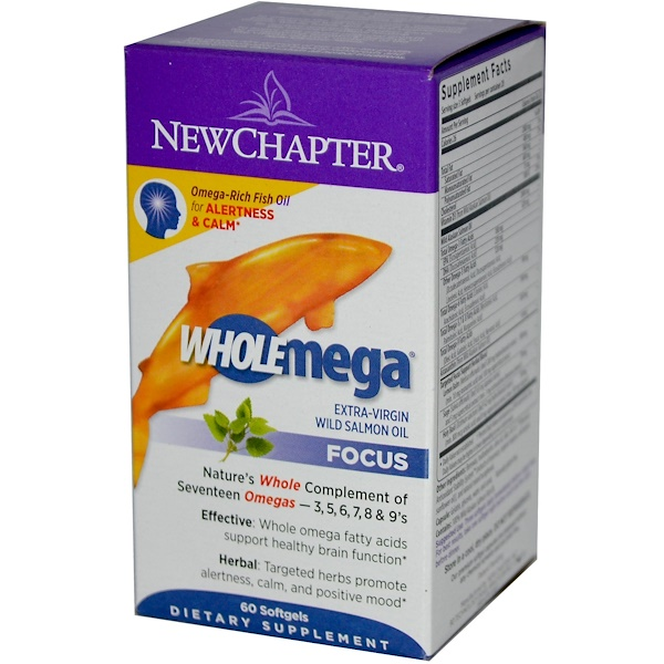 New Chapter, Wholemega, Focus, Extra-Virgin Wild Salmon Oil, 60 Softgels (Discontinued Item)