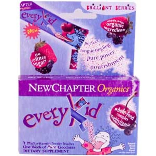 New Chapter, Organics, EveryKid, Brilliant Berries Flavor, 7 Pouches (3.5 g Each) (Discontinued Item)