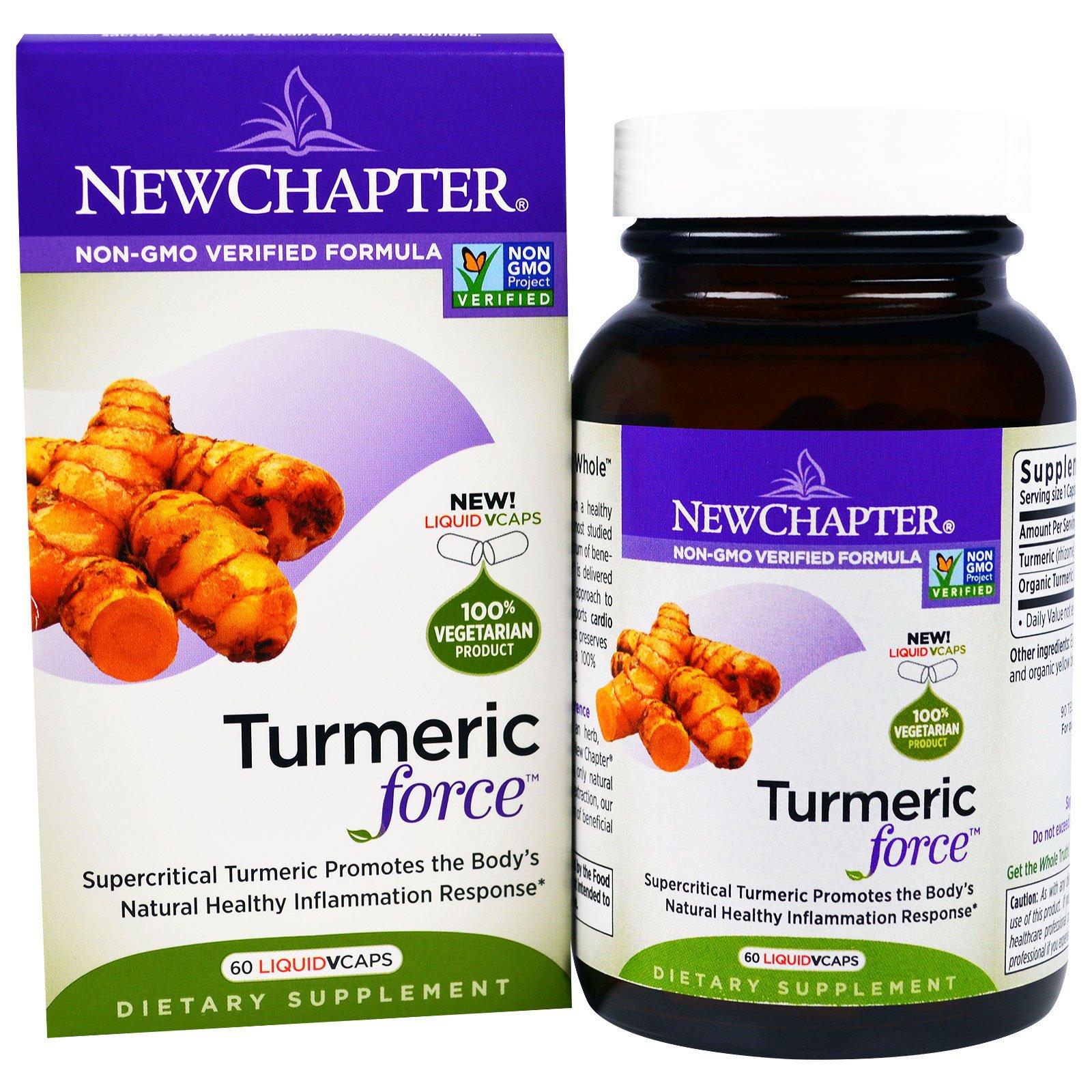 """New Chapter, """"Сила куркумы"""", пищевая добавка на основе куркумы, 60 капсул в растительной оболочке с жидкостью"""