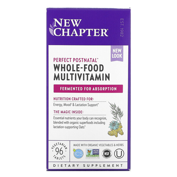 New Chapter, Perfect Postnatal, Whole-Food Multivitamin, 96 Vegetarian Tablets