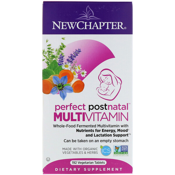 New Chapter, Multivitamínico posnatal Perfect Postnatal, 192 comprimidos vegetarianos