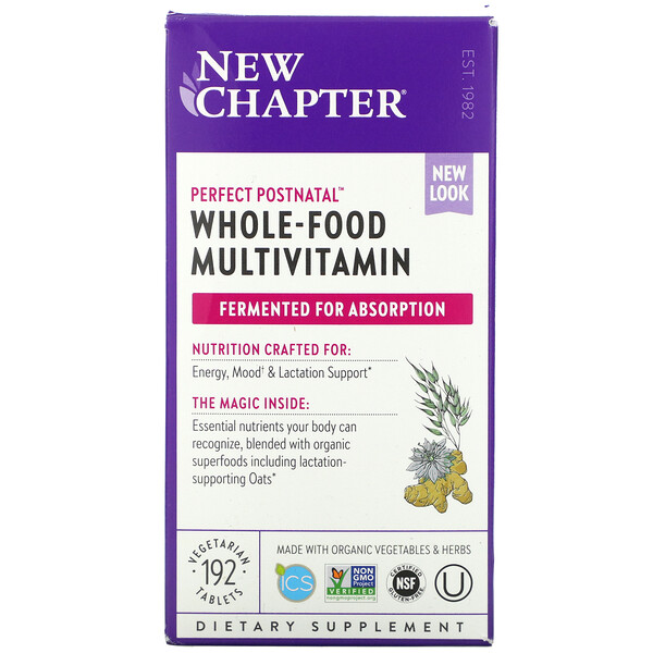 New Chapter, Perfect Postnatal Whole-Food Multivitamin, 192 Vegetarian Tablets