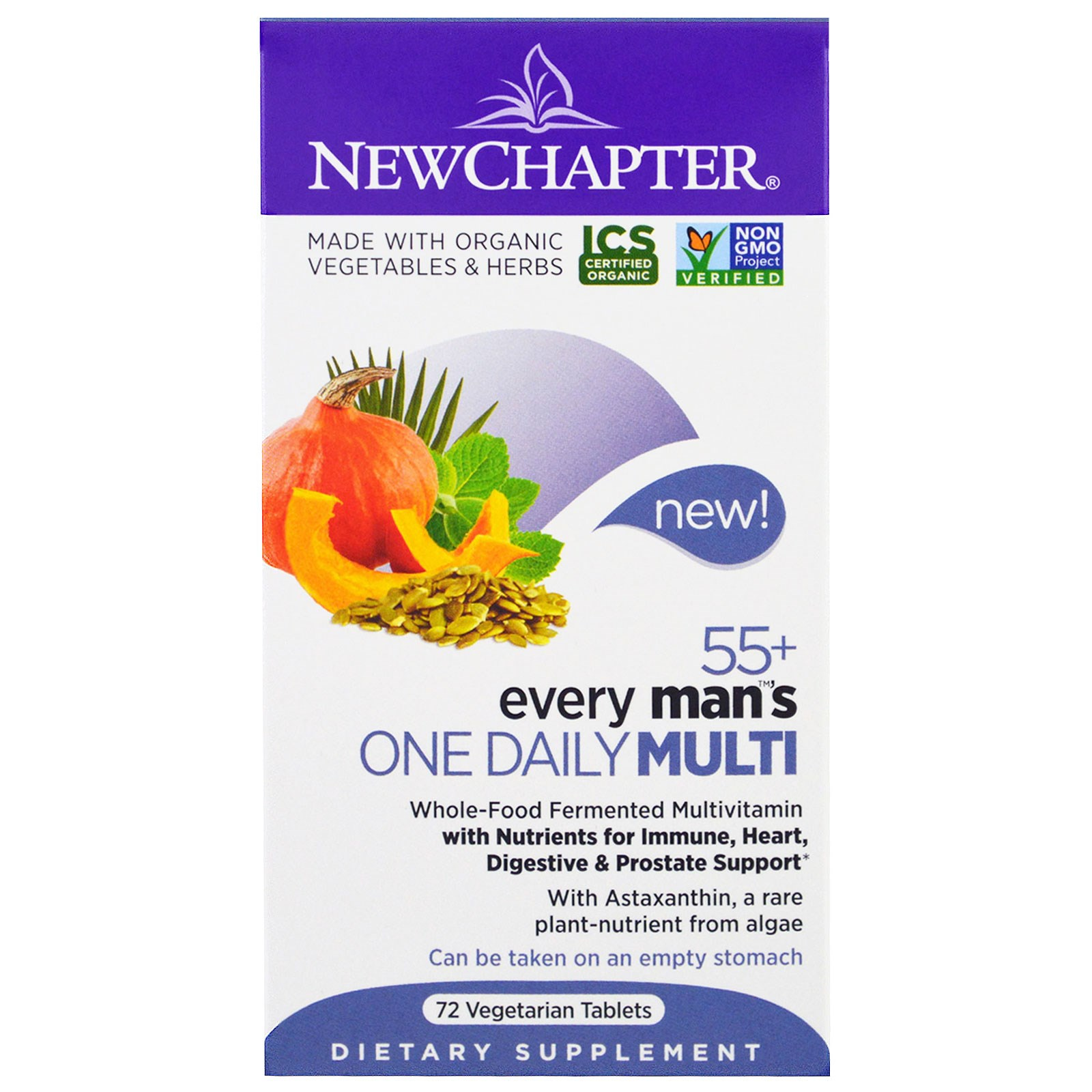 New Chapter, Мультивитамины для мужчин Every Man's One Daily 55+, 72 вегетарианских таблетки