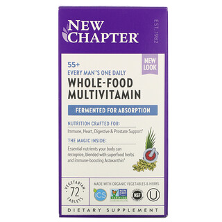 New Chapter, 55+ Every Man's One Daily Whole-Food Multivitamin, 72 Vegetarian Tablets