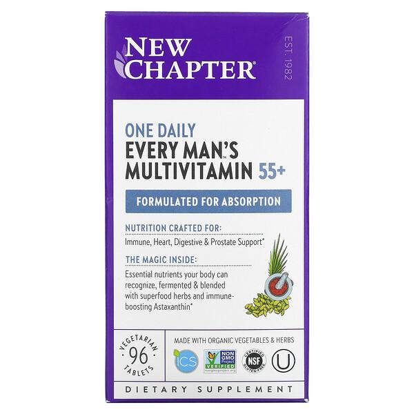 New Chapter, فيتامينات متعددة للرجال من عمر 55 عامًا فأكثر منEvery Man يتم تناولها مرة واحدة يوميًا، 96 قرصًا نباتيًا