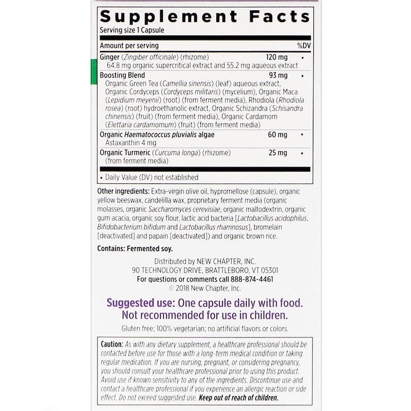 New Chapter, Daily Workout + Recovery, 60 Vegetarian Capsules - photo 1