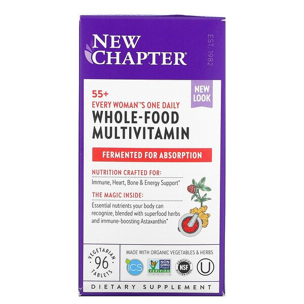 New Chapter, 55+ Every Woman's One Daily, Whole-Food Multivitamin, 96 Vegetarian Tablets
