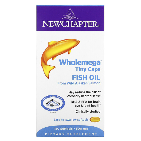 New Chapter, Wholemega Tiny Caps Fish Oil, 500 mg, 180 Softgels (Discontinued Item)