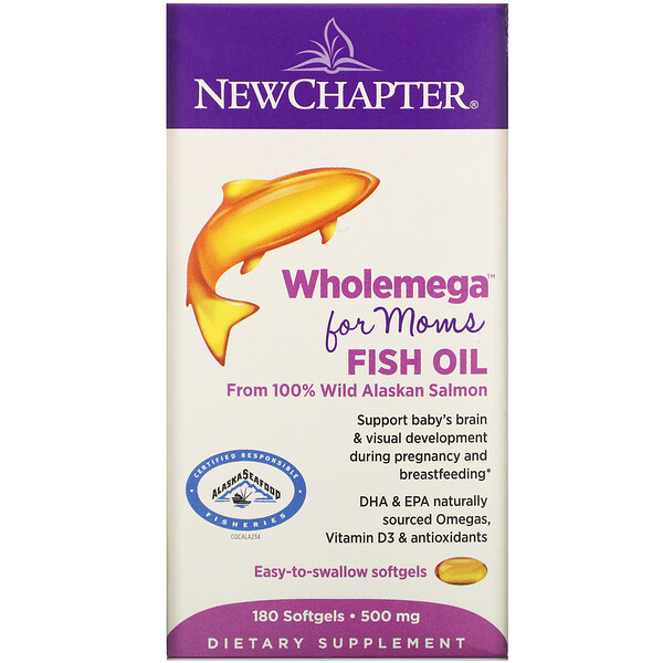 Wholemega for Moms Fish Oil, From Wild Alaskan Salmon, 500 mg, 180 Softgels