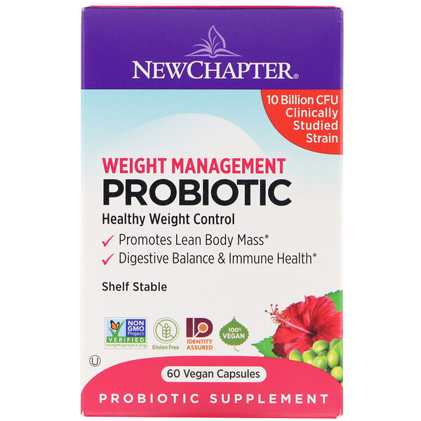 New Chapter, Weight Management Probiotic, 10 Billion CFU, 60 Vegan Capsules