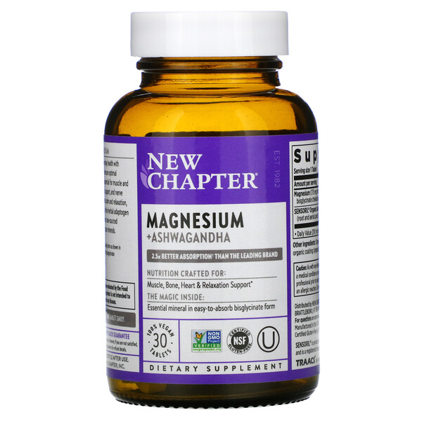 New Chapter, Magnesium + Ashwagandha, 30 Vegan Tablets