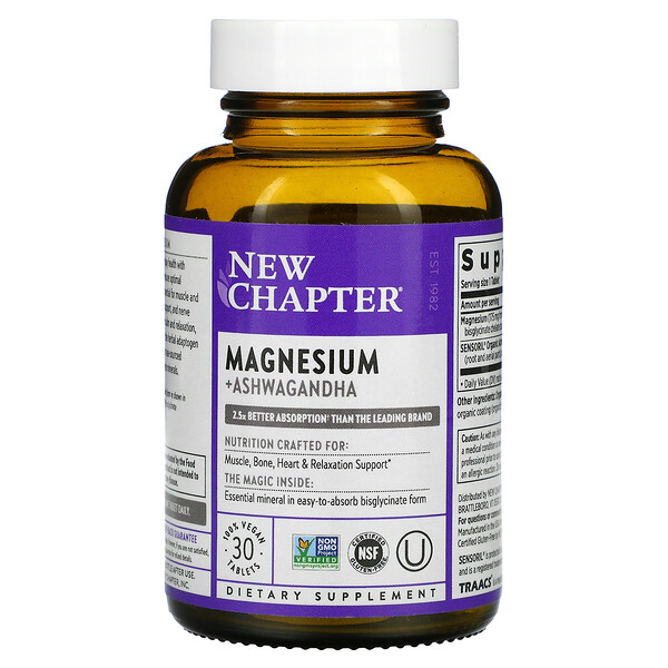 Magnesium + Ashwagandha, 30 Vegan Tablets
