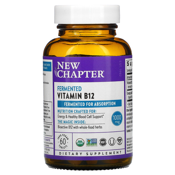 New Chapter, Fermented Vitamin B12, 60 Vegan Tablets