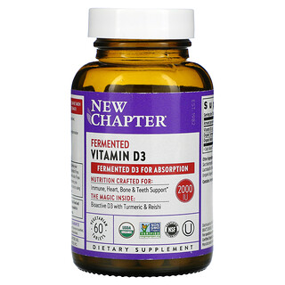 New Chapter, Fermented Vitamin D3, 2,000 IU, 60 Vegetarian Tablets