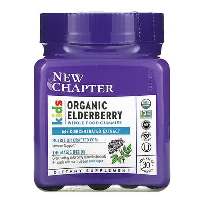 New Chapter Kids Organic Elderberry Whole-Food Gummies, Ages 2+, 30 Vegan Gummies