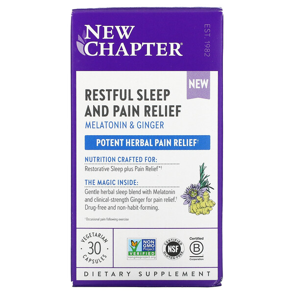 Restful Sleep and Pain Relief, Melatonin & Ginger, 30 Vegetarian Capsules